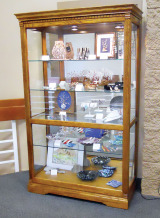 The variety of projects by Lapidary Club members can be seen in the display case next to the shop on the second floor of the Clubhouse.