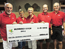 Presenting the check to the SunBird Golf Club are (left to right) Gary Metzger, Eilene Stroahman, Connie Dreyer, Jim Dolwick and George Richardson – SBO Committee. Missing is Jack Cooper.
