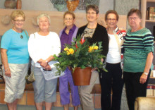 Pictured are Janet Girard, Jan Davidson, Shirley Goodman, Jackie Cox, Nan Atchley and Mary Regan who along with Fay Asmundson, Karen Button, Susie Herigstad and Donna Wolff were a dedicated committee that made the clubhouse more attractive by redoing the silk and dry arrangements. Jan Davidson chaired the committee.They spent a lot of time and energy getting just the right items for each area. Jan and Janet spent hours washing the old flowers.