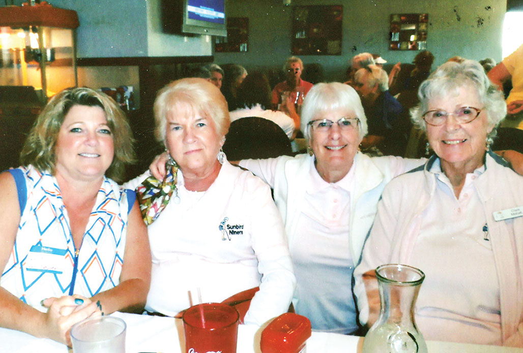 Winners of the Home and Home (pictured left to right) – back nine: Dori Winchester, Linda Walton, Trish Russell and Clara Mohatt
