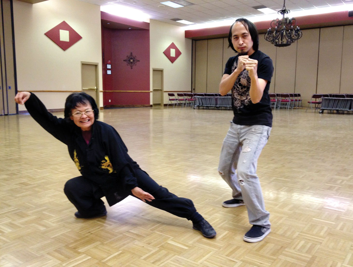 Chiyoko Starkel and her son Cody showed the SunBird Tai Chi class their moves!