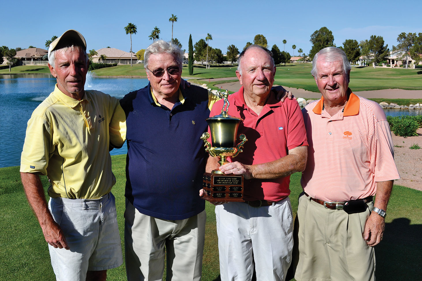 The winners of the Jack Smythe Memorial Golf Challenge Cup for 2015 are (left to right) Geoff Goth, Pete Burstynski, Don Robins and Dennis Allan. The cup was won at the 2015 Sun Lakes Rotary Club Invitational Golf Tournament held at Oakwood CC on March 22.