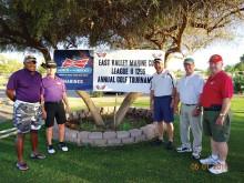 Rich Williams, Doug Patterson, Dennis Miller, Gordon Fiacco, and Dave Minnick prepare for the tournament.
