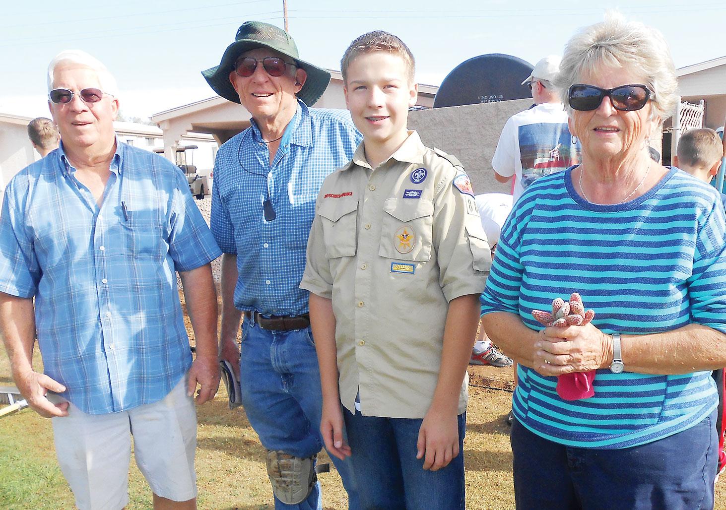 Blake C. Newton with SunBird residents.