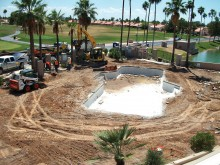 Work begins on the new swimming pool.