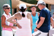 Thanks to Pat Daven (left), Charlotte Wiard (right), Jo Lucas and Vickie Ayres (not shown) for organizing this new summertime tennis event for our full time residents and tennis enthusiasts.