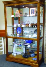 Lapidary Club display case on the second floor of the Clubhouse shows various arts produced in the shop.