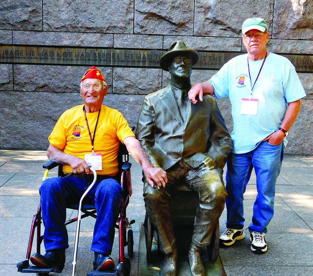 Marines Ernie Karkula and Gordon Fiacco at the DC WWII Memorial