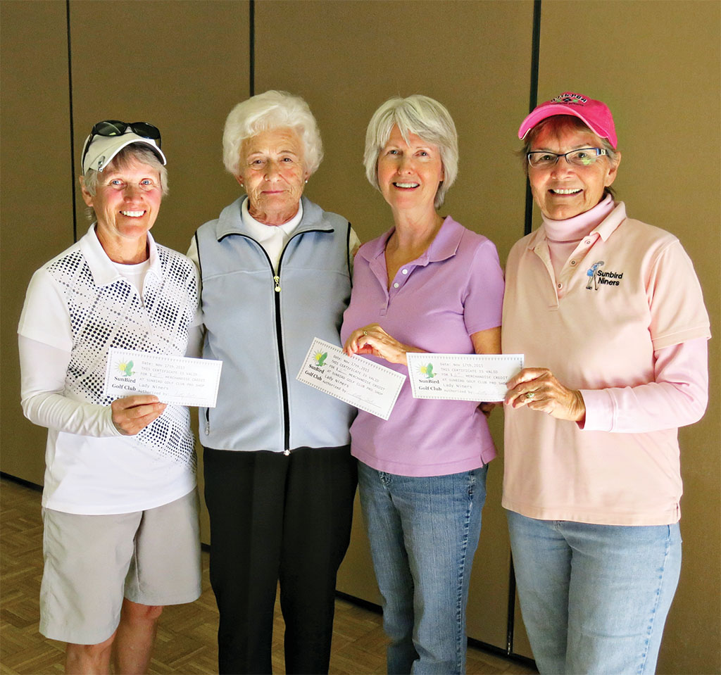 The winning team of Karen Gilmore, Lore Schaefer, Julie Napton and Gail Schroeder