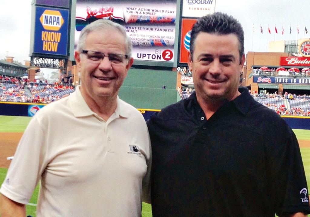Tom and Robert Drake at an Atlanta Braves game.