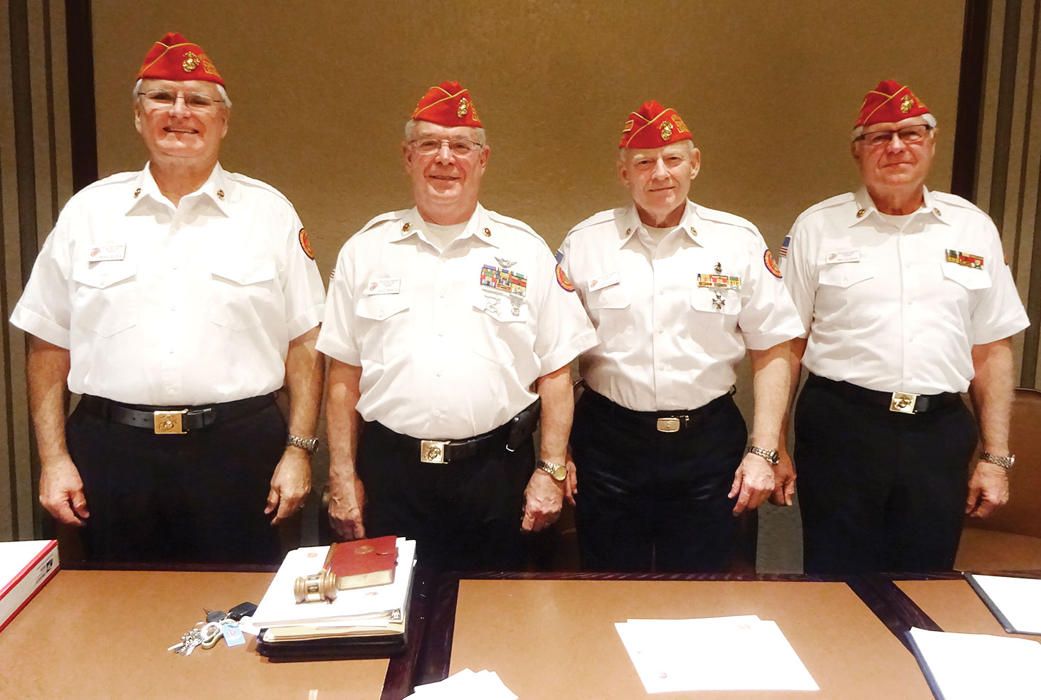 Newly installed officers Mike Bishop, Dave Minick, Dave Lott and John Van Houten