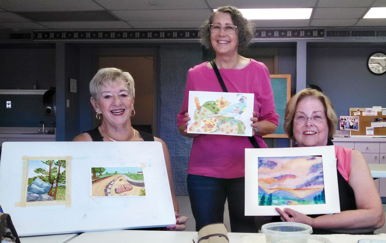 Jean Pritchard, Janice Sparks and Judy Ramberger are shown with watercolors completed later in the year. Notice their exciting use of color. Jean Pritchard, Janice Sparks and Judy Ramberger are shown with watercolors completed later in the year. Notice their exciting use of color.