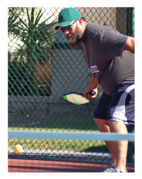 Peggy Stokes' son Travis enjoying a game of pickleball