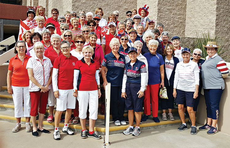 Lady 18ers are celebrating conclusion of the annual Solheim Cup which features teams of Canadians vs. USA in a net match play format. Go Canada - Go USA!