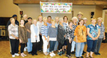 The dancers in the picture did a great job line dancing in the SunBird Ballroom at their annual March dance. Many of the class members had company, were out of town or sick and couldn't join us, and we missed them.