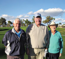 Men's Net Shootout (left to right) Al Lundeen, Second Place; Byron Hock, First Place, Earl Ferguson, Third Place