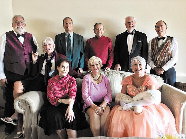 Plaza Suite cast (left to right): Greg Posniack, Sally Holberg, Phyllis Novy, Jim Brown, Jo Birlin, Jim Janowski, John Crawford, Kathy Miller, and Mario Carranza
