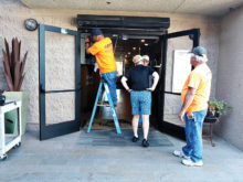 Installation and inspection of one set of the 13 double doors. This project has been funded by the Capital Improvement account.
