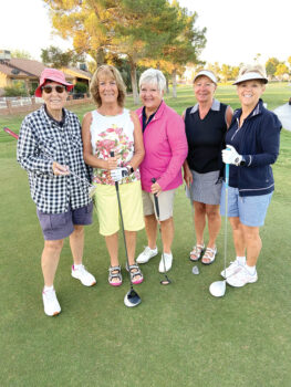 Summer golfers Pat Arnold, Jennifer Walden, Glenda Jacobsma, Renea Rankin, and Julie Anderson.