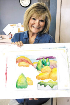 Jean Anderson's art class was doing bright watercolors on the day that Judy Larsen painted this painting.
