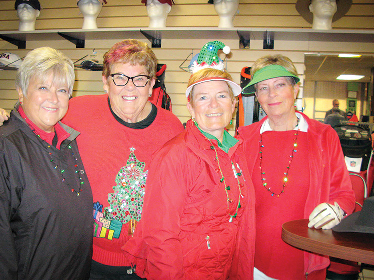 Lady 18ers never miss an opportunity to wear bling on the course. Pictured are Glenda Jacobsma, Joy Morgan, Jackie Huyghebaert, and Carolyn Jarvis.