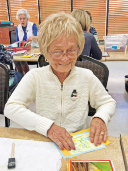 Nancy Sisler making Crystal Cards at a recent workshop