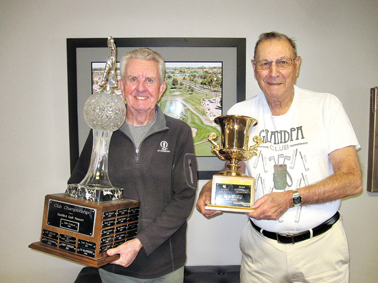Left to right: Gerry Tomlinson, SunBird Club Champion, and Roy Comeau, SunBird Cup Champion
