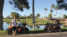 Golf carts practicing social distancing (six feet apart)