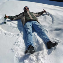 """Joe Gann making snow angels with a couple of """"friends"""" in Calgary, while waiting for the border to reopen"""