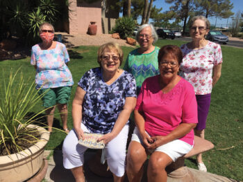 Back row (left to right): Katherine Gibbs, Margaret Speer, and Shirley Goodman; front row: Deanna Calvert and Barbara Dunbar