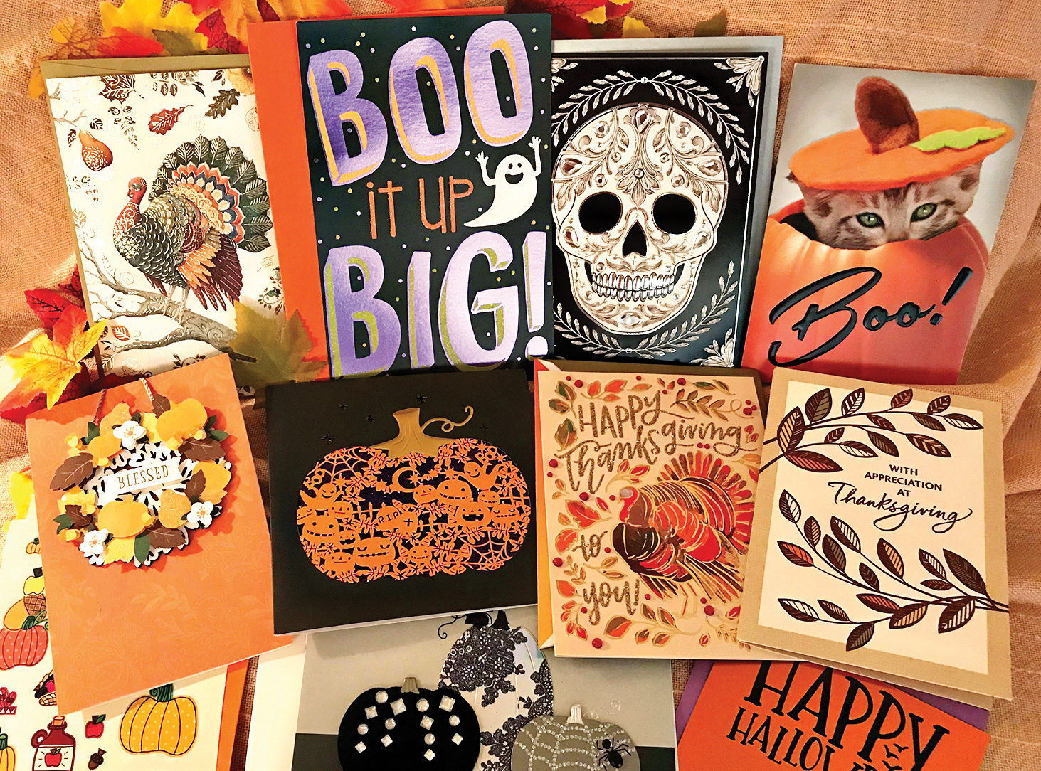 Halloween and Thanksgiving cards are sure to please.