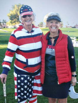 Sue Koslofsky and Julie Anderson, showing some team spirit during our Solheim Cup Tournament last spring.