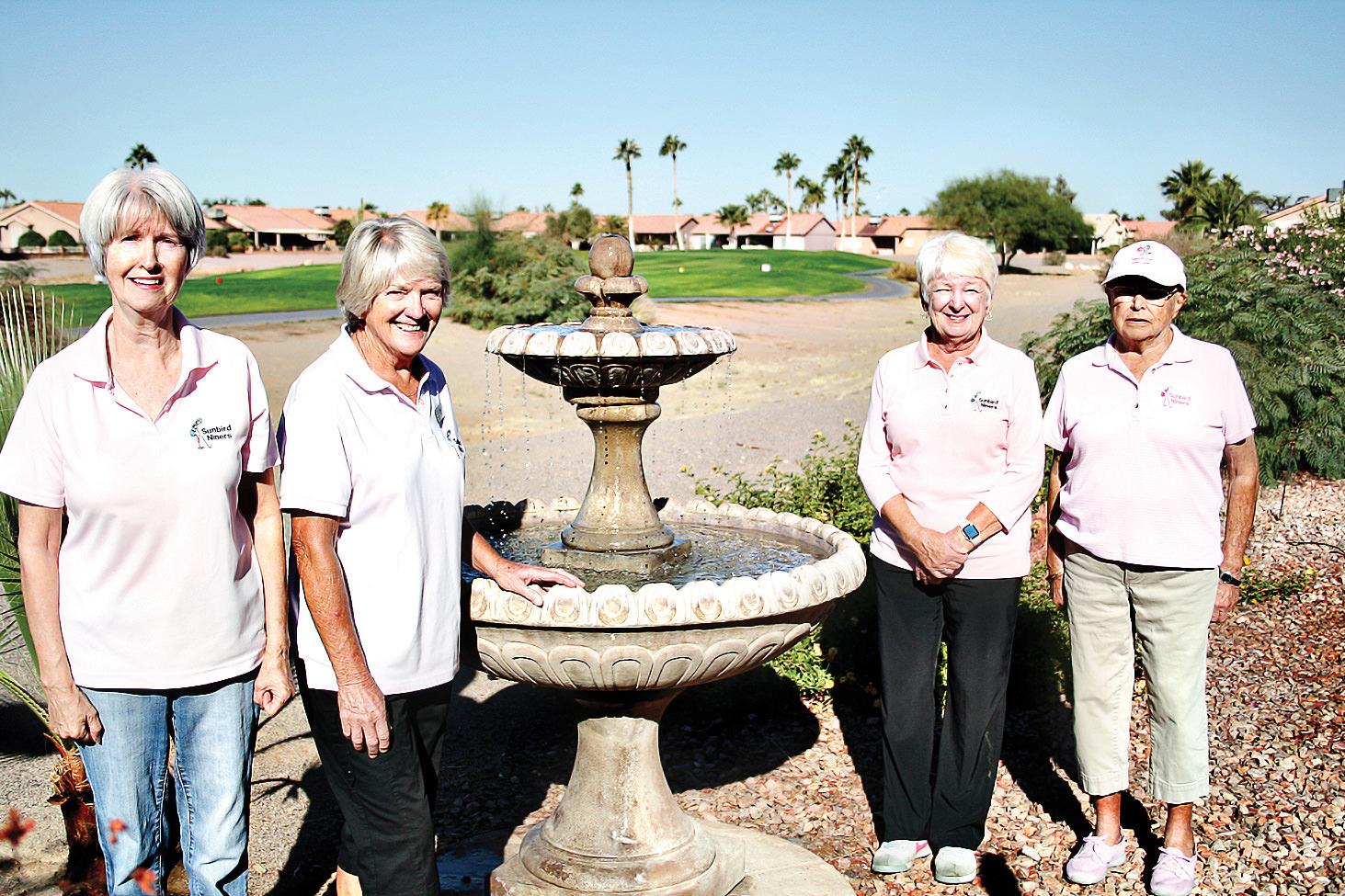 Meet the new 2021 SunBird Ladies Golfing Niners Board (left to right): Secretary Gail Schroeder, President Babs Cyr, President-Elect Pam Tiffany, and Treasurer Bev Wilson.