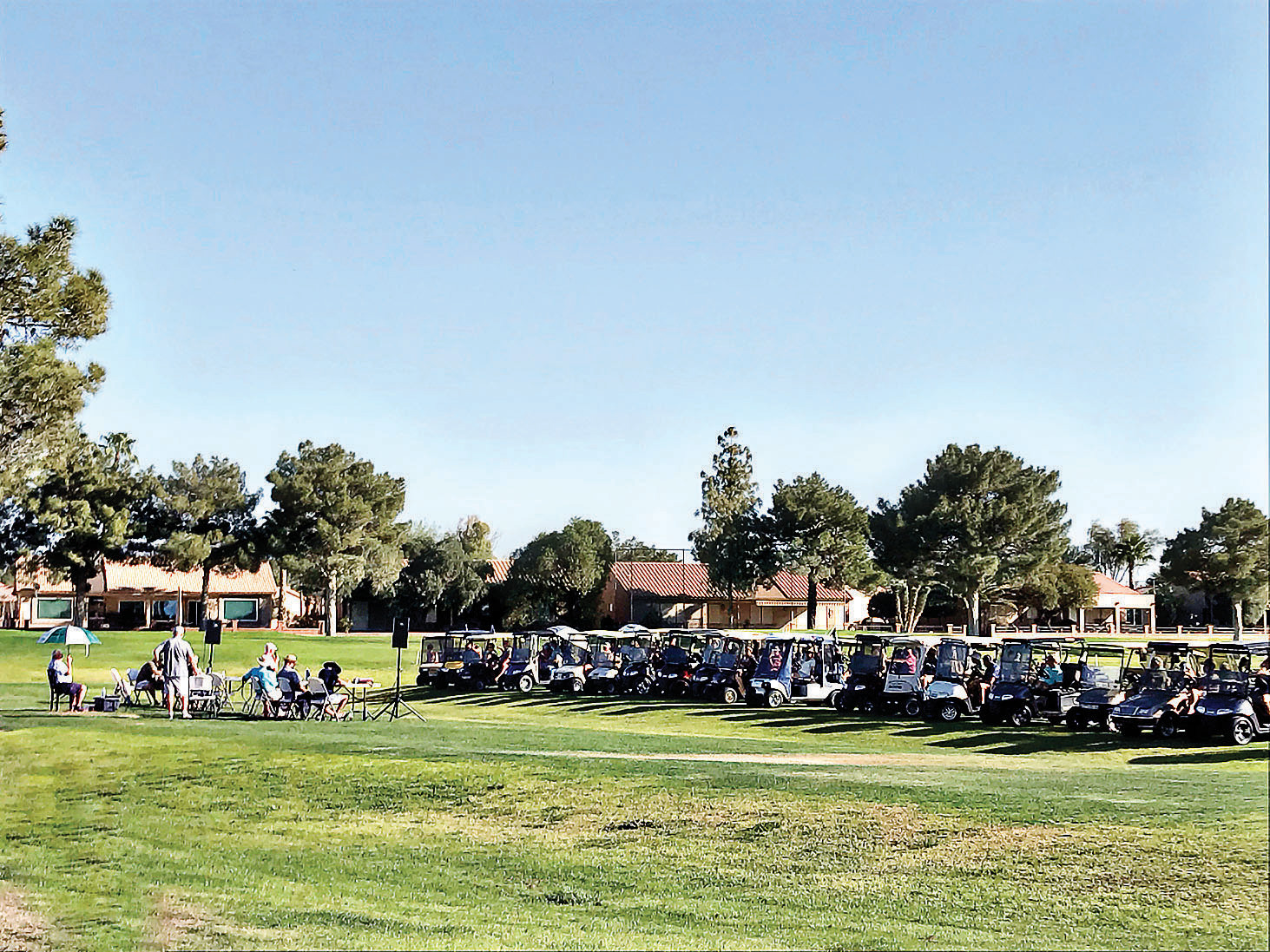 Lady 18ers are just one group in this innovative outdoor meeting of SunBird Golf Club.