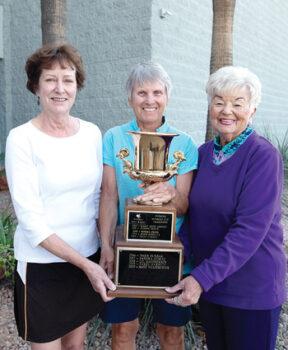 SunBird Cup winners (left to right): Carol Garrett (second), Karen Gilmore (first), and Kaye Wulfekuhler (third)