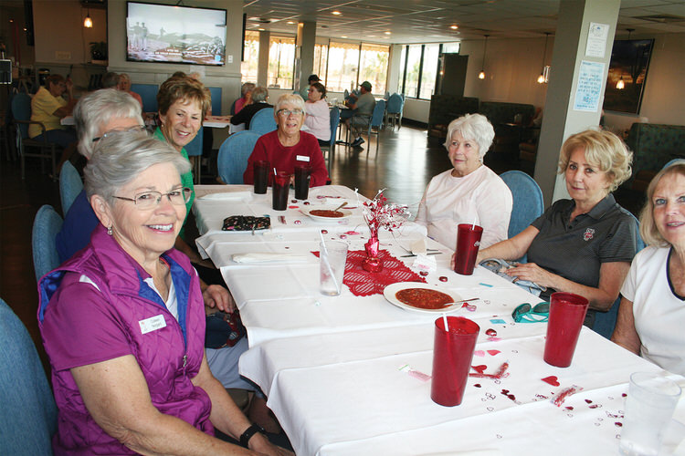 Niners celebrating Valentine's Day (left to right): Colleen Norgard, Lynette Martens, Jan Griffin, June Perdue, Sandy Ballou, Phyllis Zaccone, and Kitty Determan