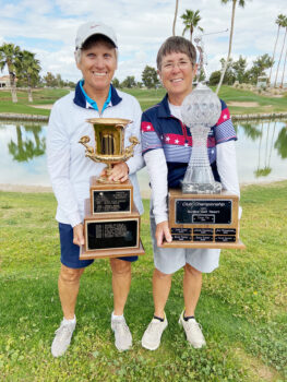 """Karen Gilmore and Cindy Vig """"take home the hardware"""" at our awards presentation. Congratulations, Karen (SunBird Cup winner) and Cindy (Club Champion)."""