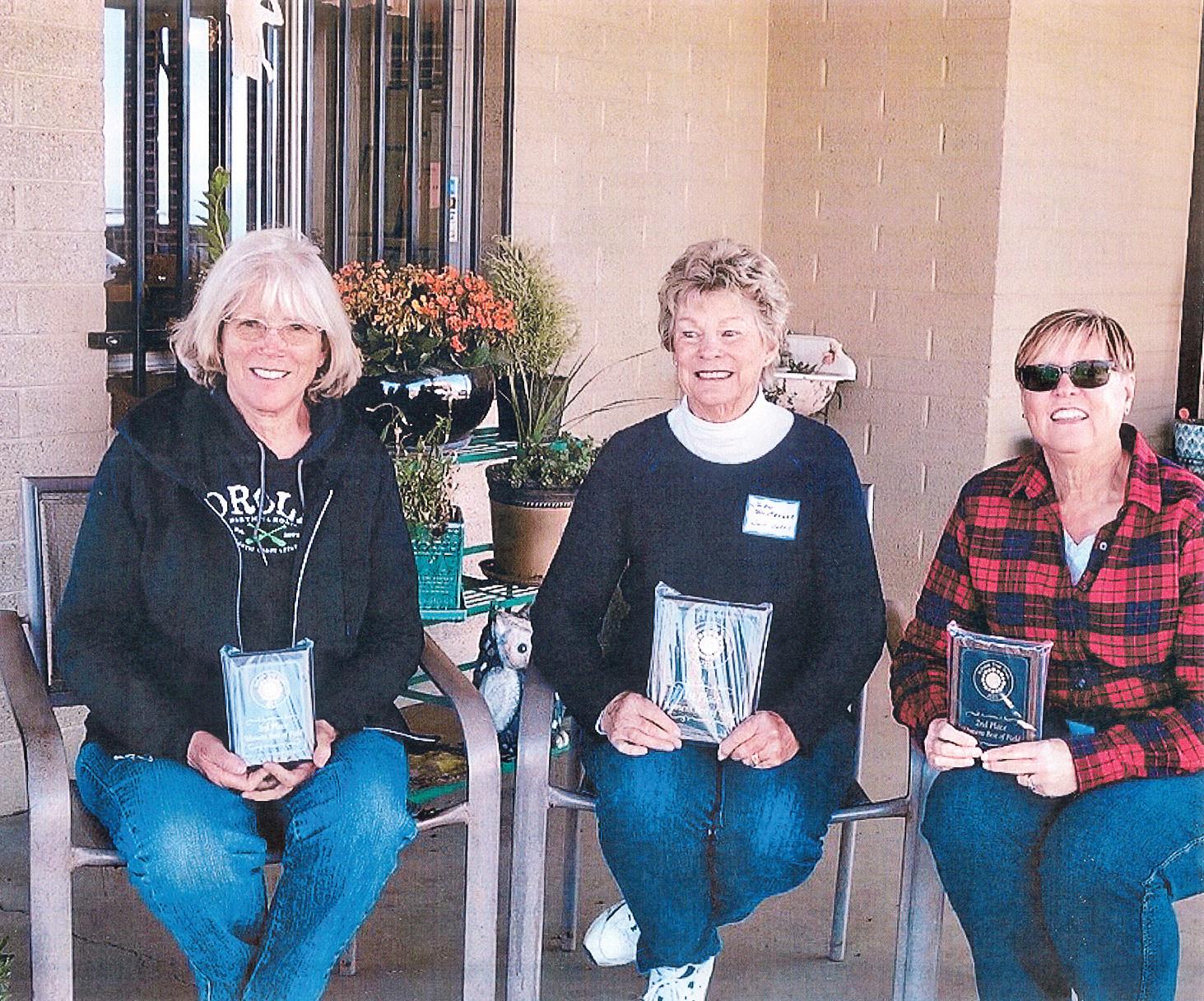 Top women shooters: second place, Lori Klug, Quail Creek, 42; first place, Judy Tenbroeck, Sun Lakes, 65; and third place, Vicki Ray, PebbleCreek, 42
