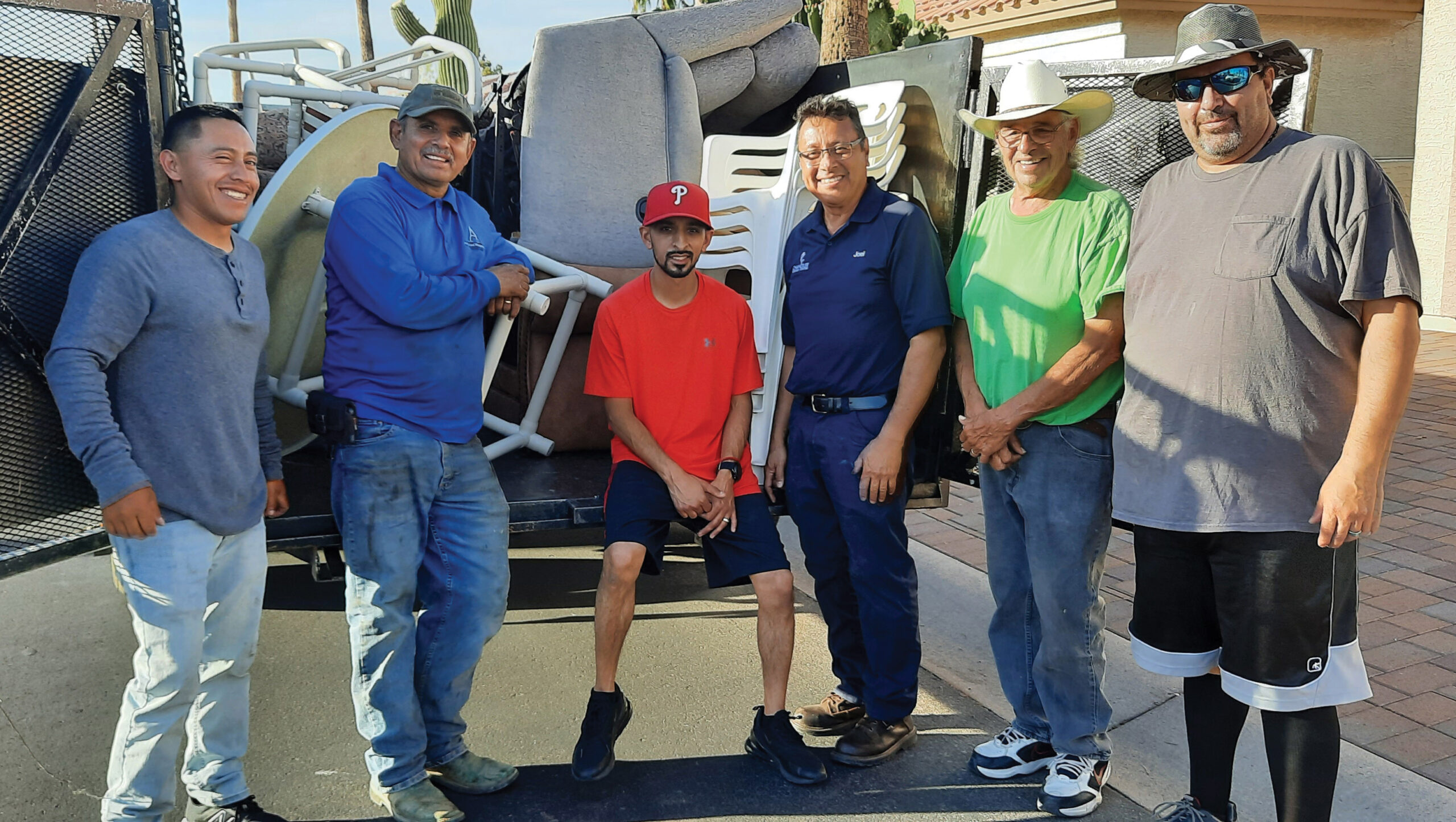 Volunteers from the Latin American Church of the Nazarene who came by to collect the furniture on the last day.