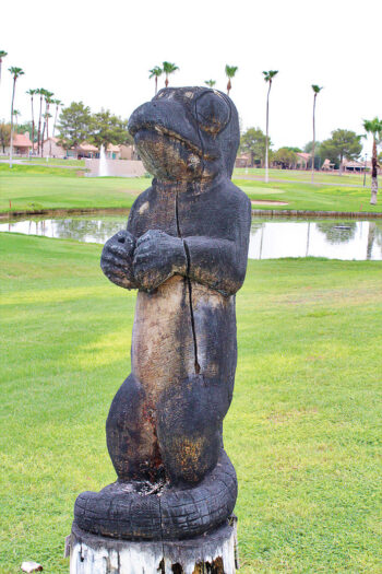 The 'Gecko' carving is located at hole 9 on the right side of the fairway in front of the water hazard. (Photo courtesy of SunBird resident and photographer Kendall Ronning)